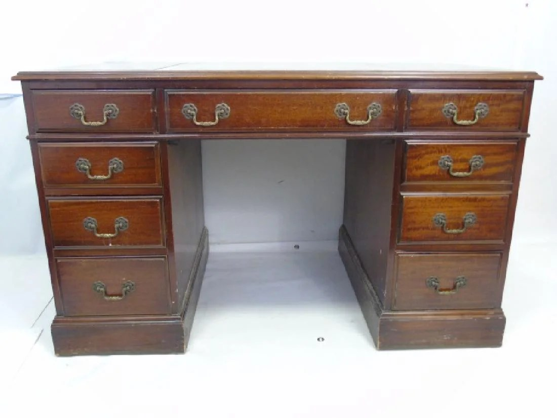 Mahogany Office Desk Vintage Mahogany Embossed Leather Top Office Desk On Liveauctioneers