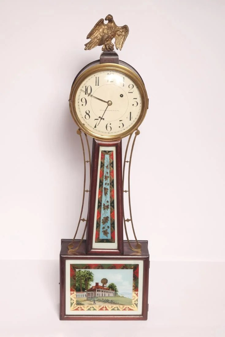 American Made Alarm Clock Bigelow Kennard Co American Banjo Clock On Liveauctioneers