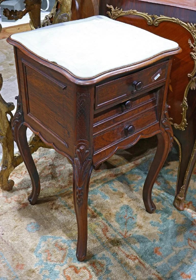 Provincial Bedside Tables French Provincial Marble Top Bedside Table On Liveauctioneers