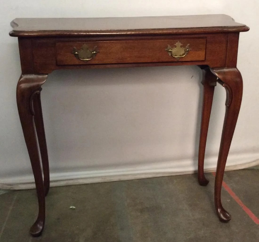 Vintage Hall Table Vintage Wooden Hall Table W Drawer On Liveauctioneers