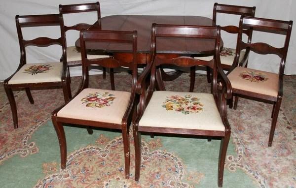 050460 Duncan Phyfe Style Mahogany Table Chairs 6
