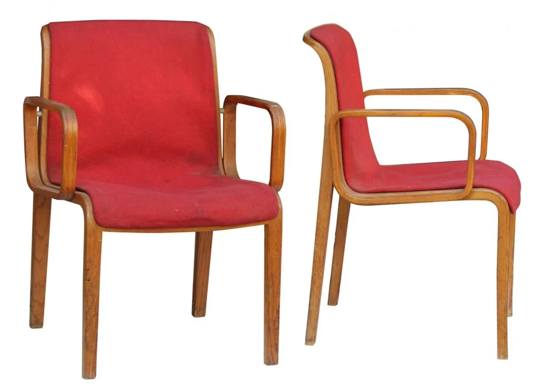 Knoll International 1973 Knoll International Red Bent Wood Chairs On Liveauctioneers