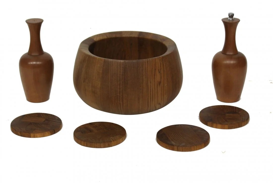 Modern Salt Pepper Shakers Mid Century Modern Teak Wood Bowl Salt Pepper Shaker On Liveauctioneers