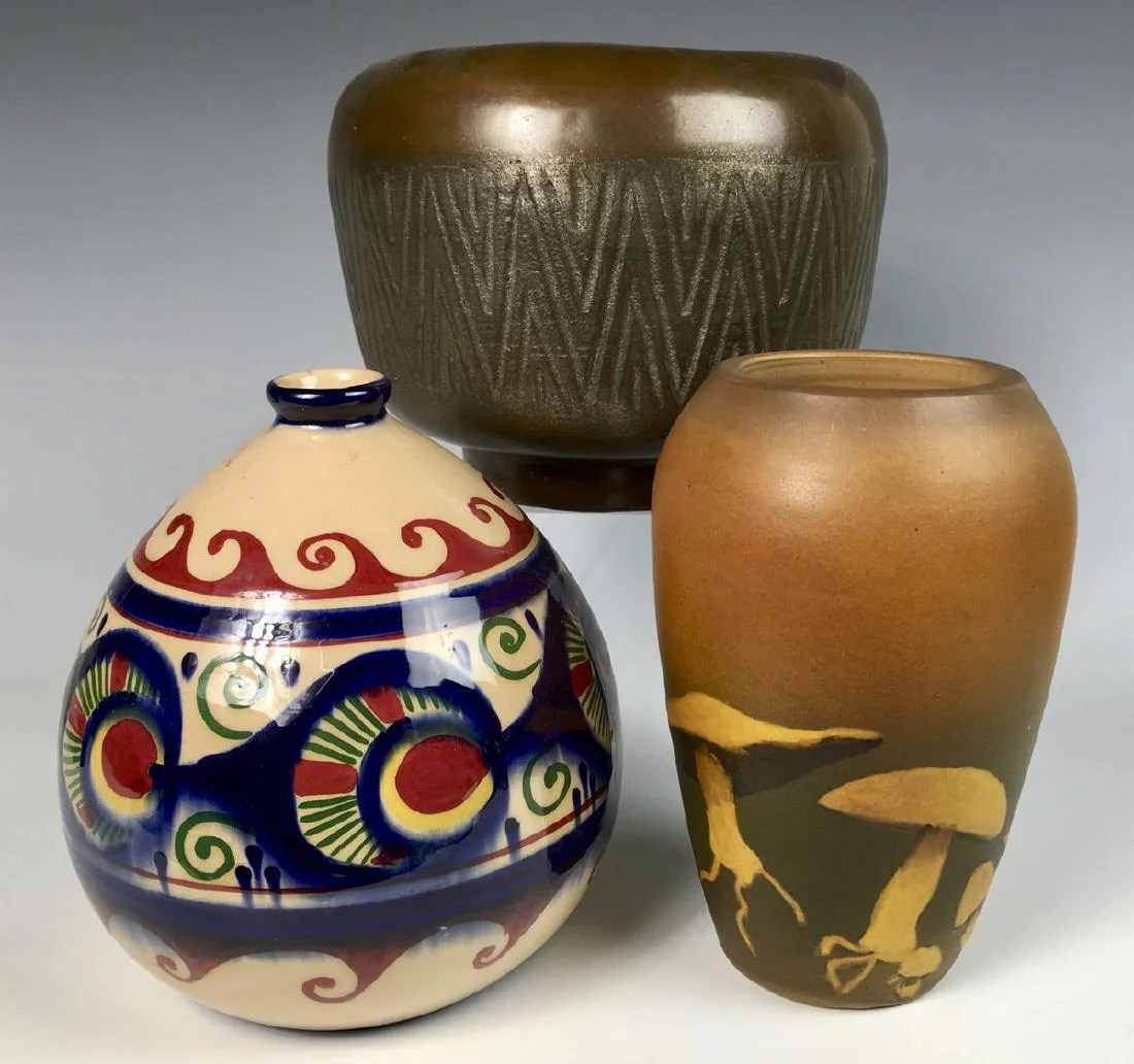 Deco Quimper Group Of 3 Pottery Items On Liveauctioneers