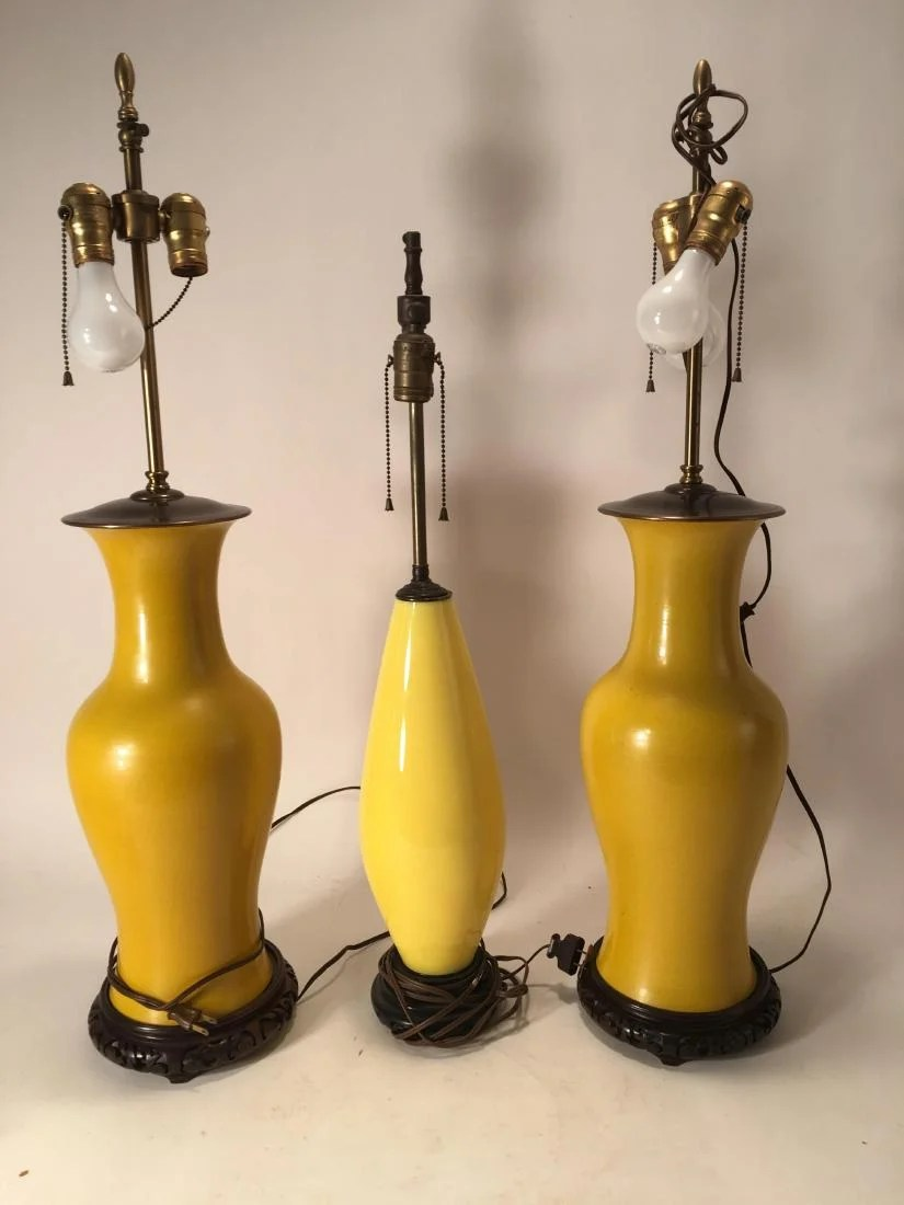 Asian Table Lamp Three Asian Yellow Ceramic Table Lamps 20th C On Liveauctioneers
