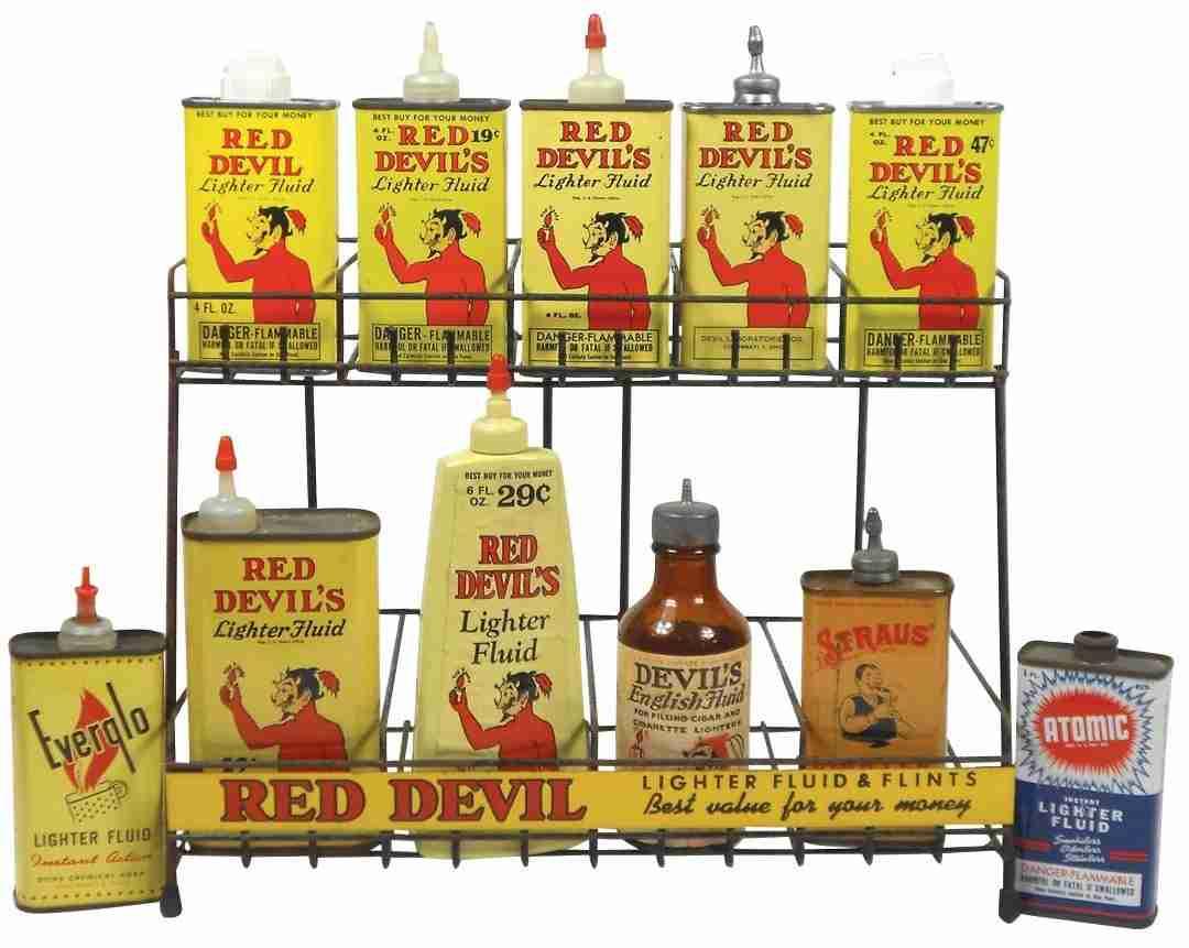Smoking Items 12 Red Devil Lighter Fluid Flints Wi