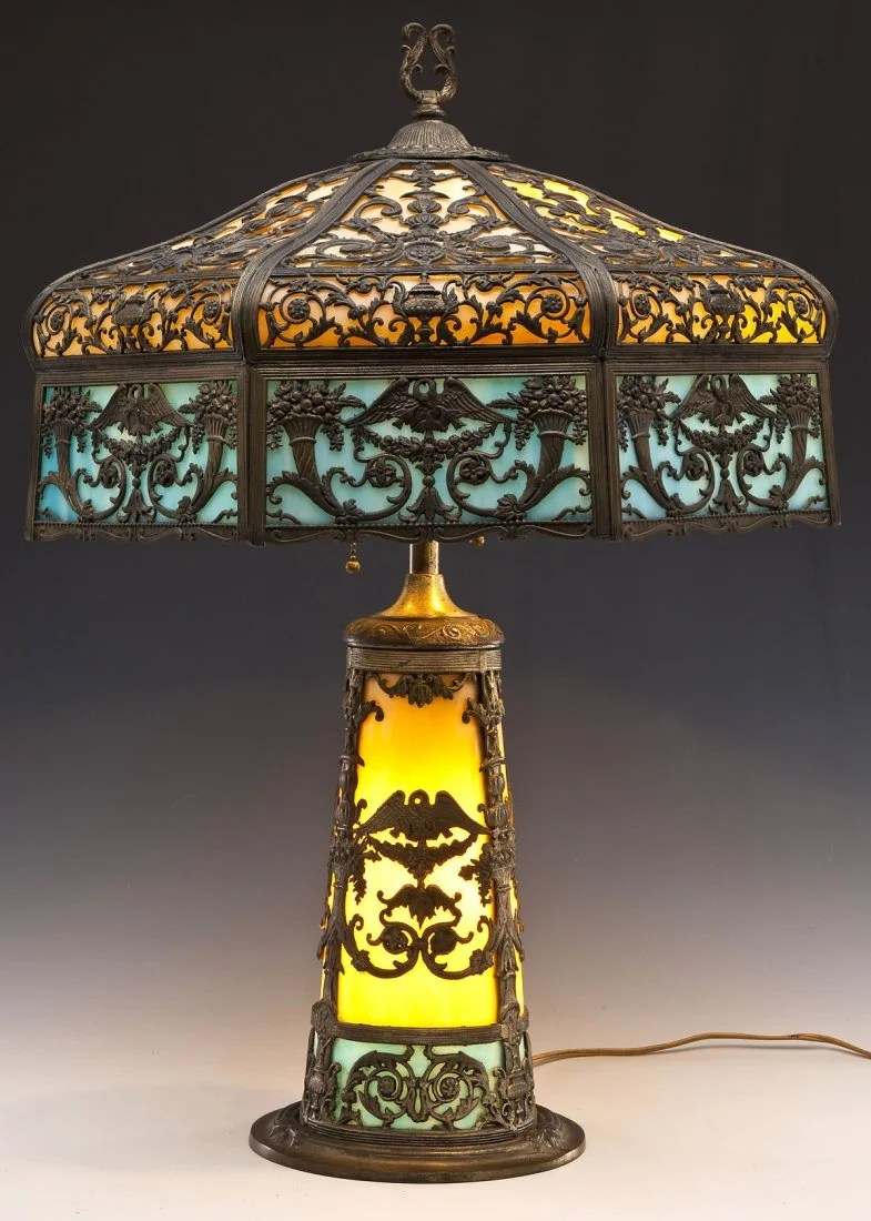 Glass Lamp Art North West Art Shade Co Slag Glass Lamp Feb 15 2015 Cordier Auctions Appraisals In Pa On Liveauctioneers