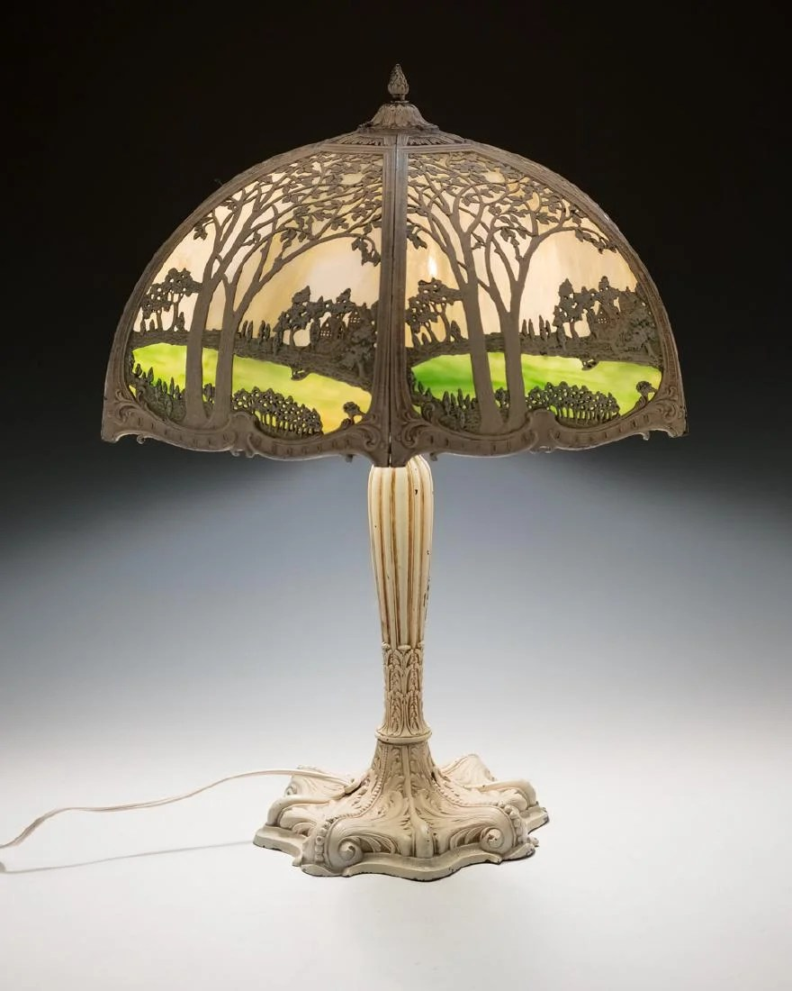 Glass Lamp Art 1912 Royal Art Glass Co Scenic Slag Glass Lamp Feb 11 2017 Cordier Auctions Appraisals In Pa On Liveauctioneers