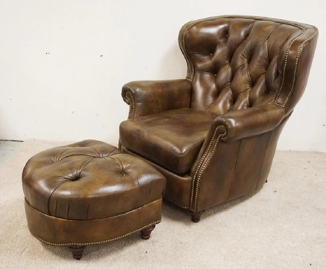 Bradington Young Leather Chair And Ottoman Missing One Sep 14 2018 Dennis Auction Service Inc In Nj
