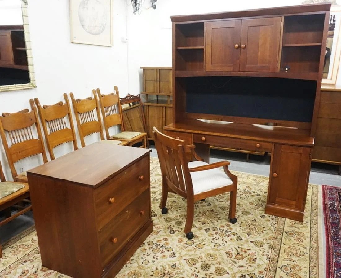 Desk With File Cabinet Ethan Allen Desk And File Cabinet On Liveauctioneers