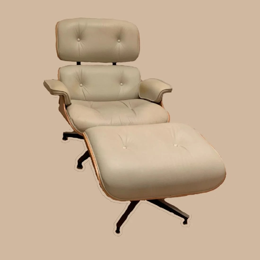Eames Chair Beige Mid Mod Eames Chair Wood Frame Recline W Ottoman
