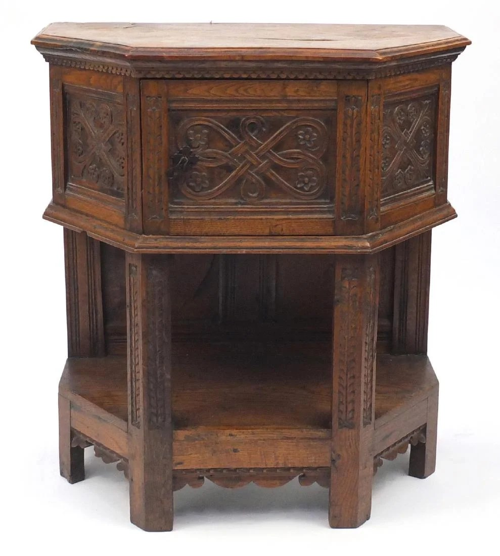 Credence Decorative Antique Oak Credence Cupboard With Carved Panels And