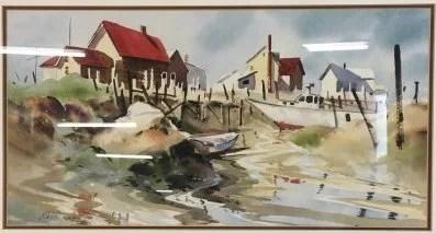 Ralph acosta original seascape watercolor ny ct