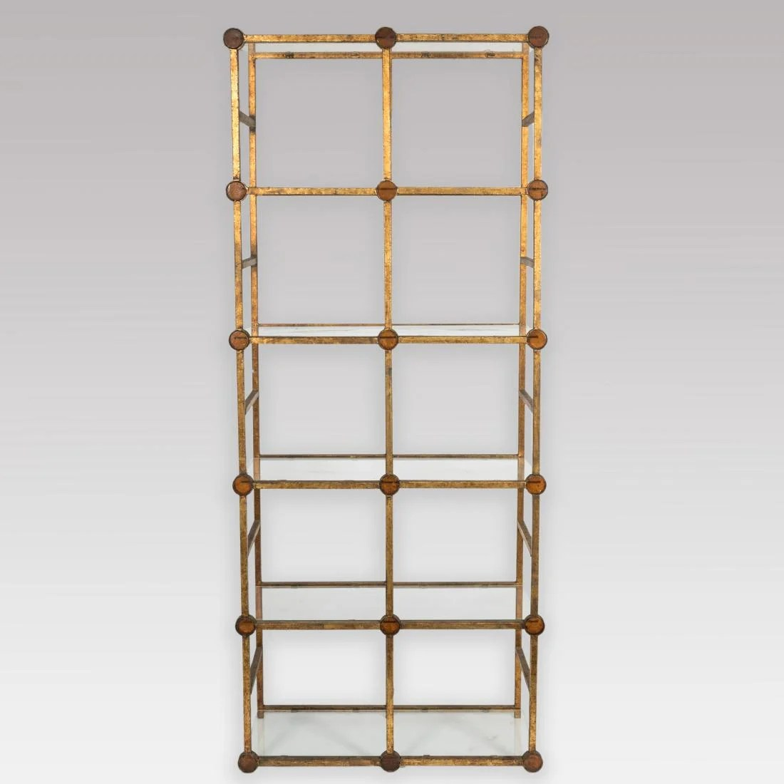 Etagere Metal Gilt Metal Etagere With Blown Glass Medallions On Liveauctioneers