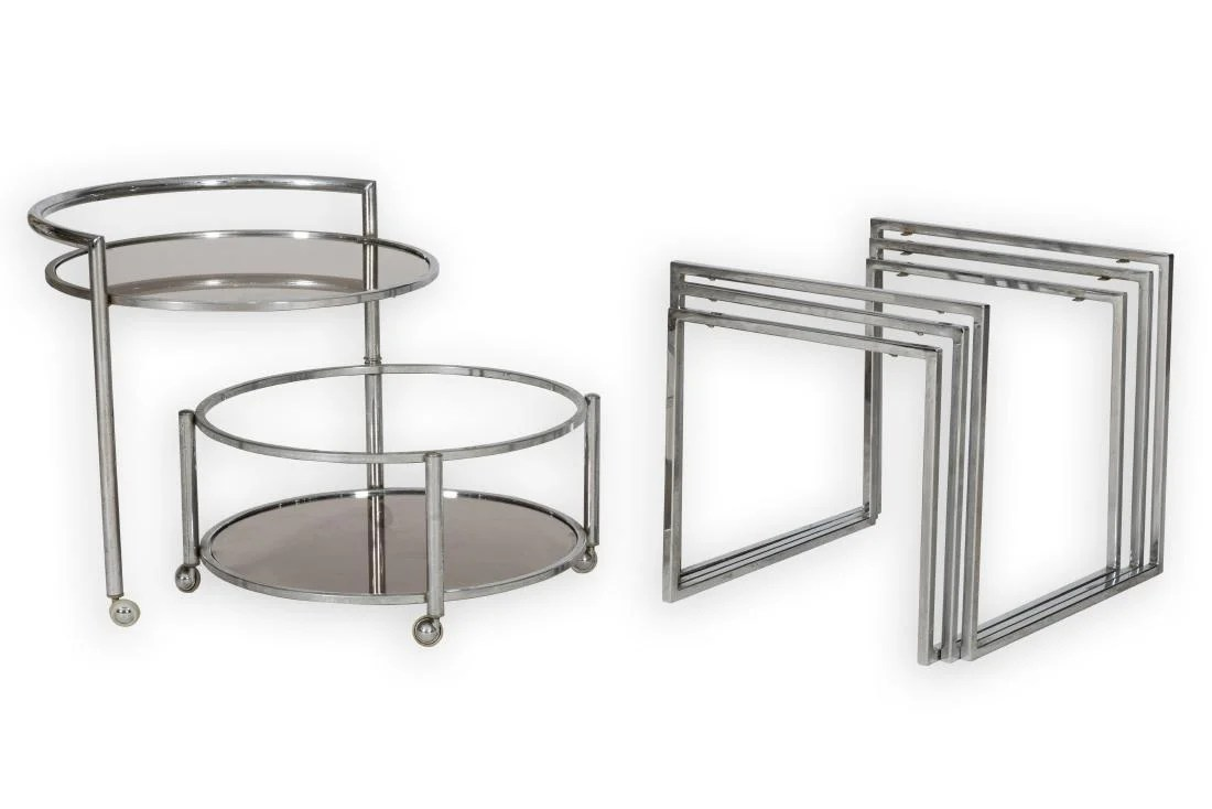 Glass Nesting Tables Chrome And Glass Nesting Tables And Cart On Liveauctioneers