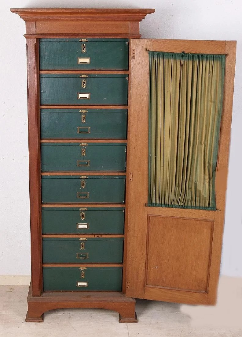 Armoire Dressing 150 Cm Antique Oak Wood Filing Cabinet With Cardboard Drawers Jan 12