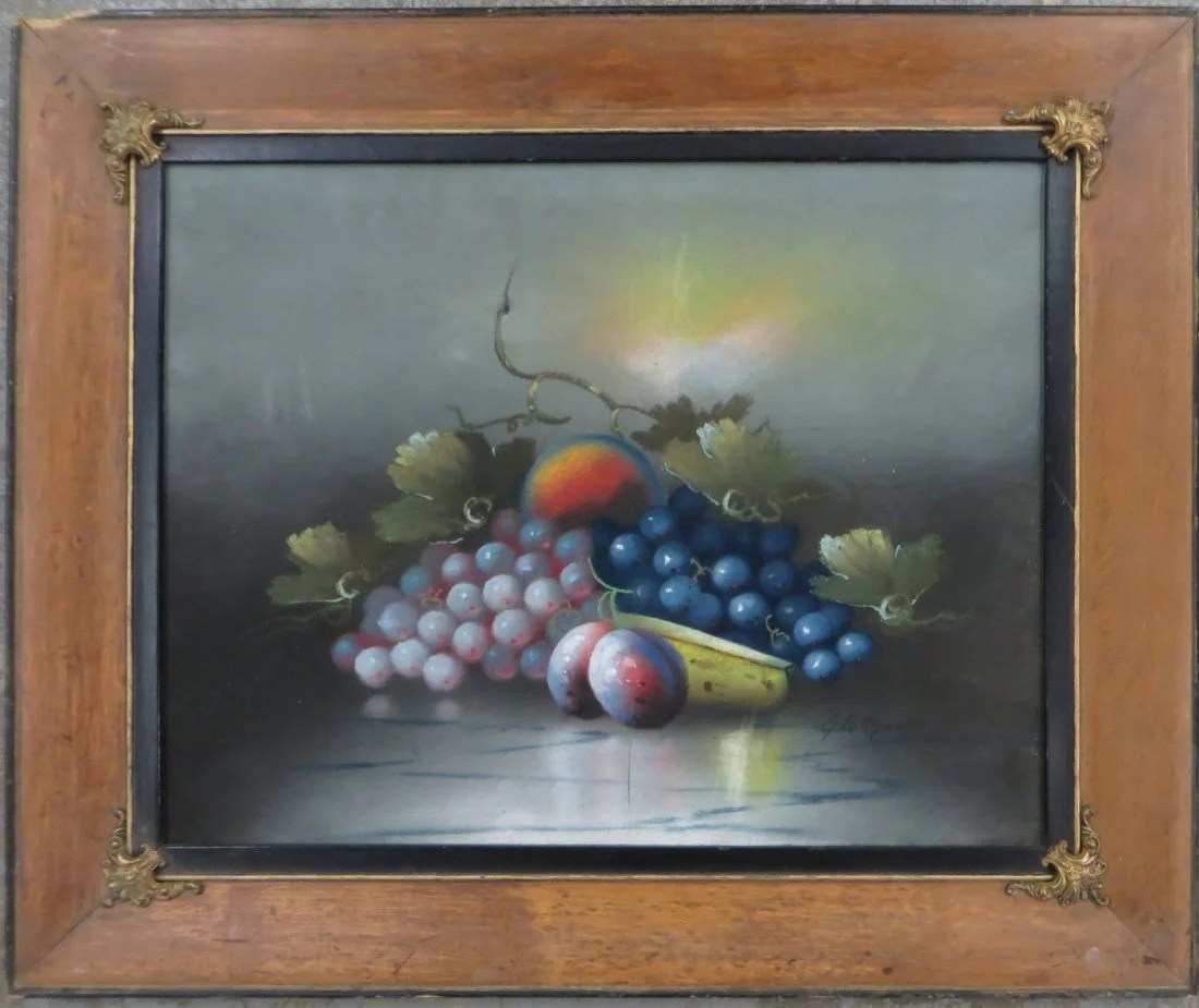 Glatthaar Pastel Fruit On Table Signed Glatthaar Albert Francis