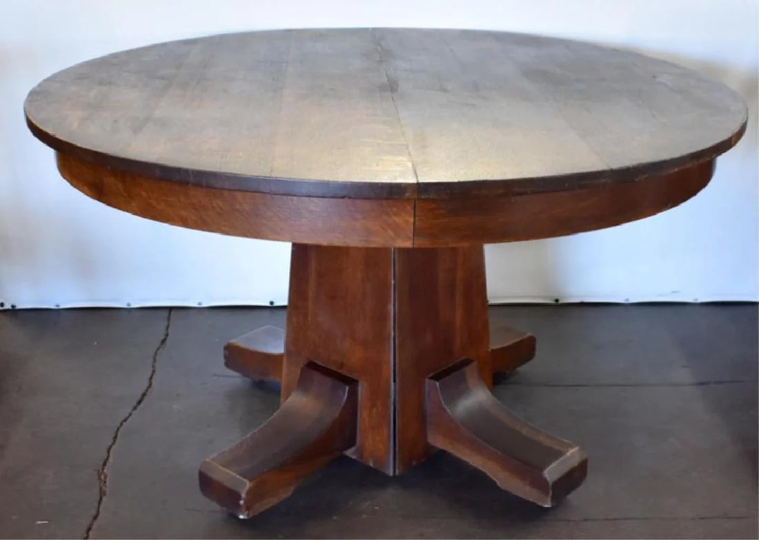 Round Oak Dining Table Stickley Arts Crafts Round Oak Dining Table On Liveauctioneers