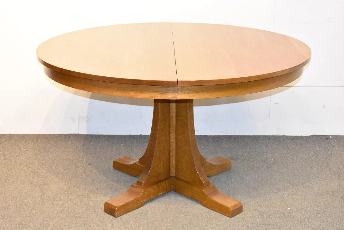 Round Oak Dining Table Stickley Round Oak Pedestal Base Dining Table On Liveauctioneers