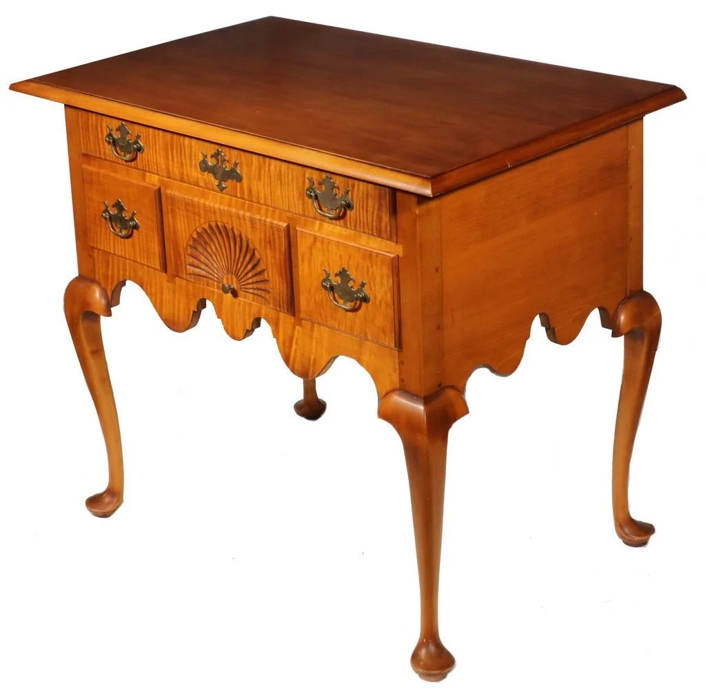 Eldred Wheeler Tiger Maple Lowboy Nov 15 2020 Thomaston Place Auction Galleries In Me