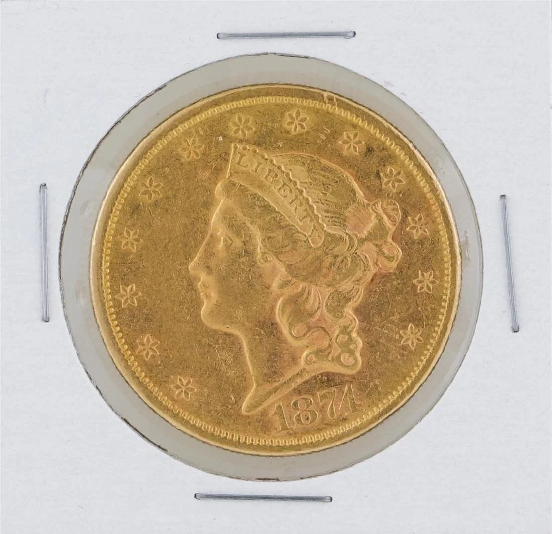 Gold S 1874 S 20 Liberty Head Double Eagle Gold Coin On Liveauctioneers