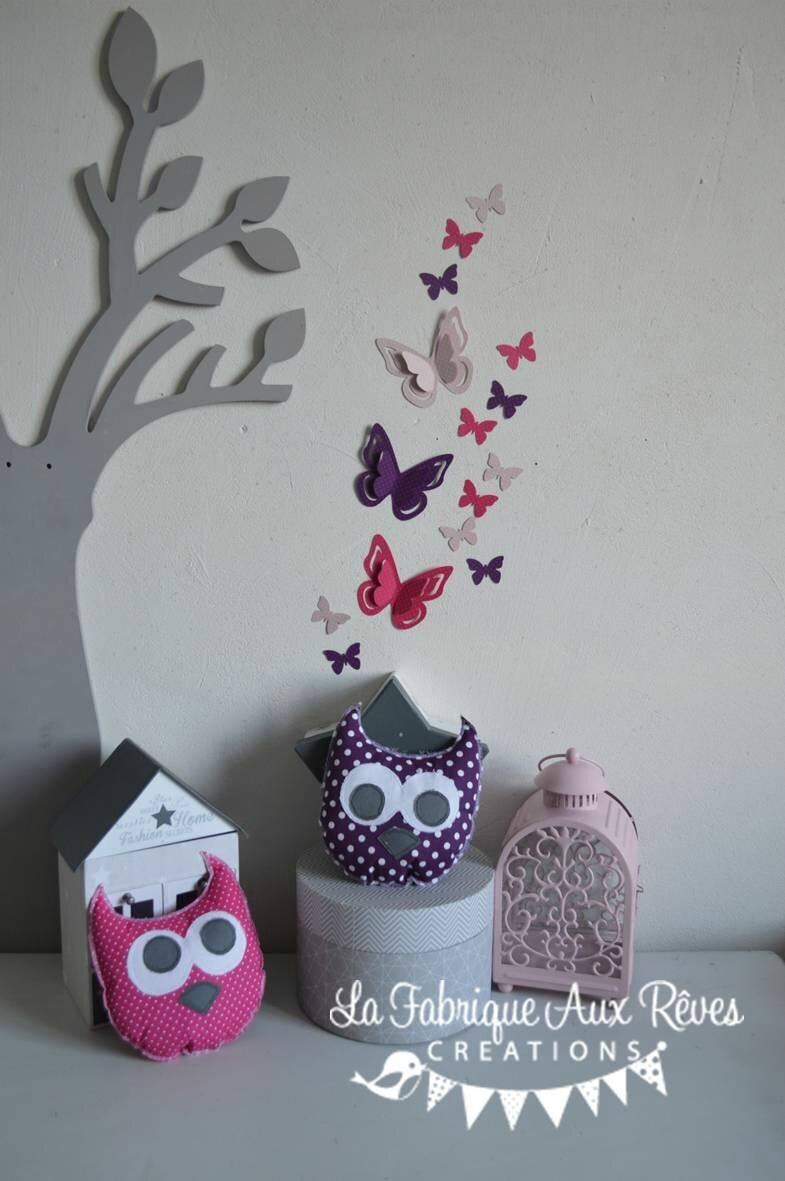 Stickers Papillon Chambre Fille Stickers Papillons Rose Poudré Rose Fuchsia Violet Prune