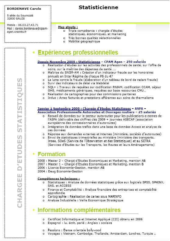 exemple de cv analyste en intelligence economique