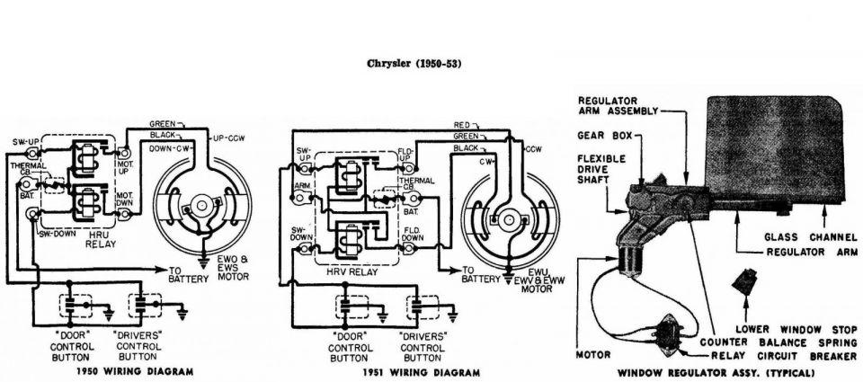 Window Regulator Wiring Diagram Chrysler 1950-53 1/2 - Electrical