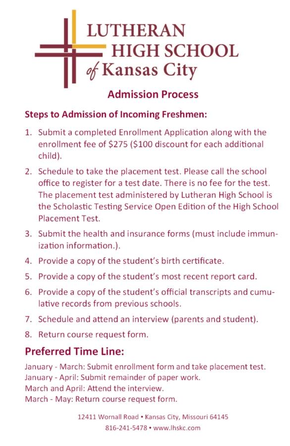 Admission Process - Lutheran High School of Kansas City