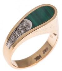 14K YELLOW GOLD MALACHITE & DIAMOND RING : Lot 49523