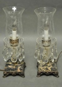 312: Pr. of Crystal Electric Hurricane Lamps : Lot 312