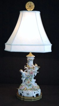 Dresden Porcelain Cupids Table Lamp : Lot 221