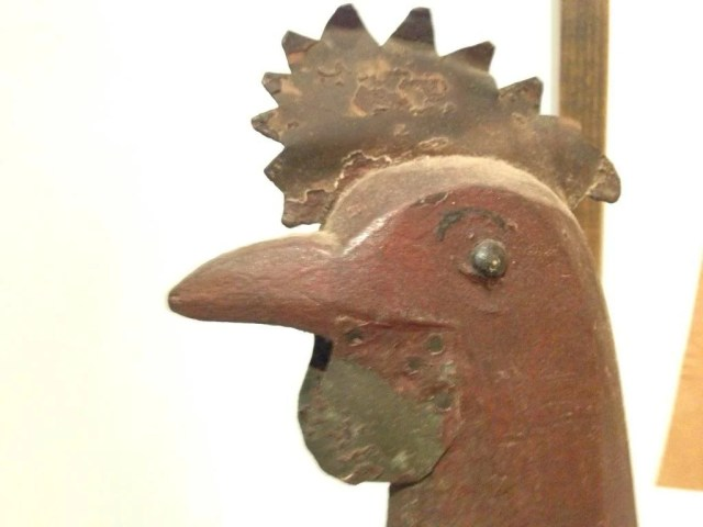 4: Painted Wood Tin and Iron Figure of a Rooster