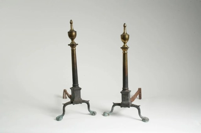 79: Pair of Chippendale Brass Andirons