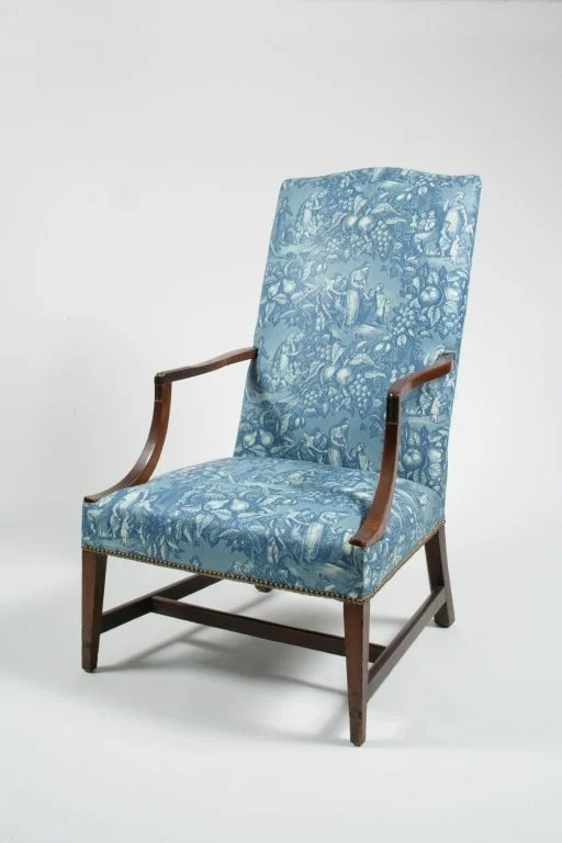 91: Federal Upholstered Mahogany Lolling Chair