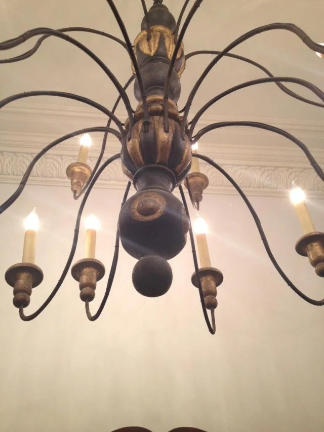 92: Gilt and Painted Iron and Wood Chandelier