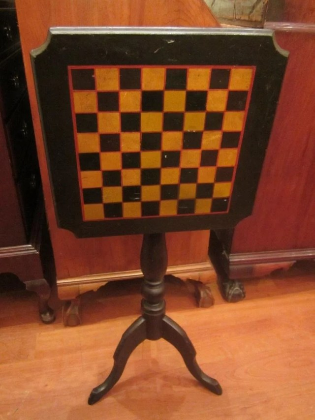 104: Painted Tilt-Top Candle Stand with Checkerboard