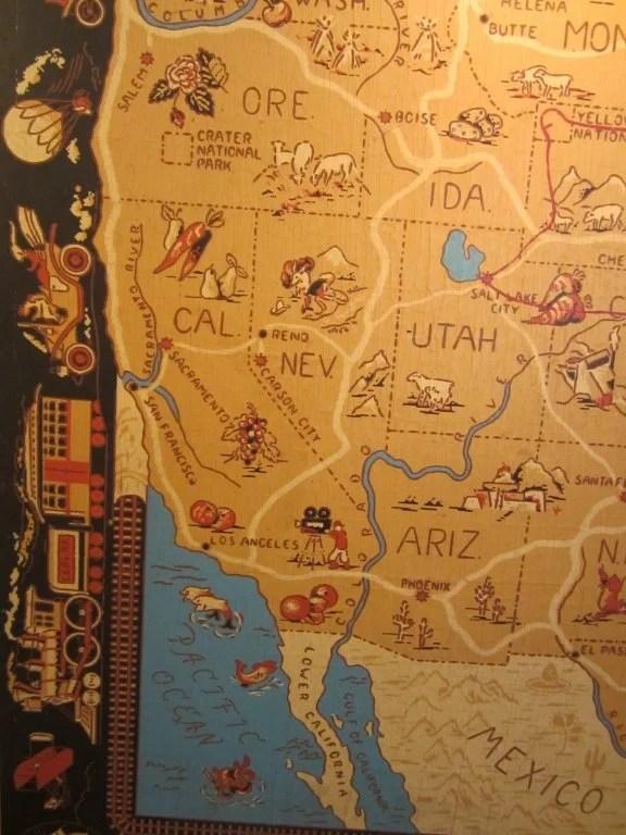 156: Painted Linoleum United States Travel Map