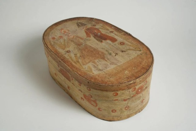 194: Oval Painted Bentwood Bride's Box
