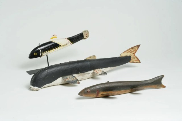 196: Three Painted Wooden Fish Decoys