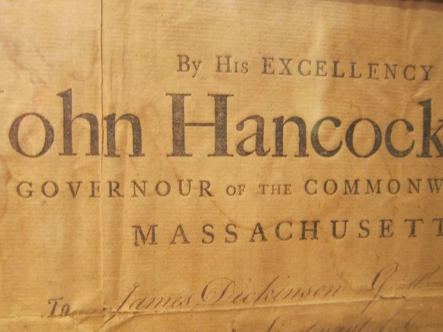 200: John Hancock Signed Document Dated 1789
