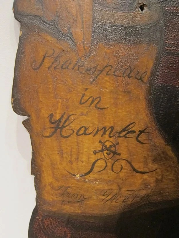 202: Painted  Wooden Sign Depicting Shakespeare
