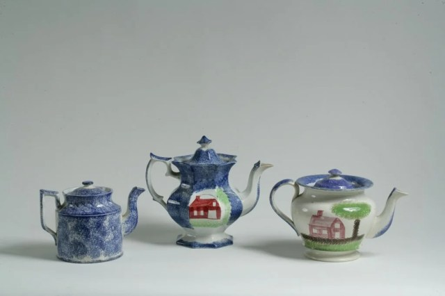 206: Three Spatterware Teapots each with Painted House