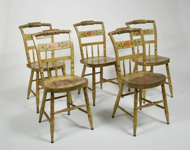 207:Set of Five Yellow Painted Plank Bottom side Chairs
