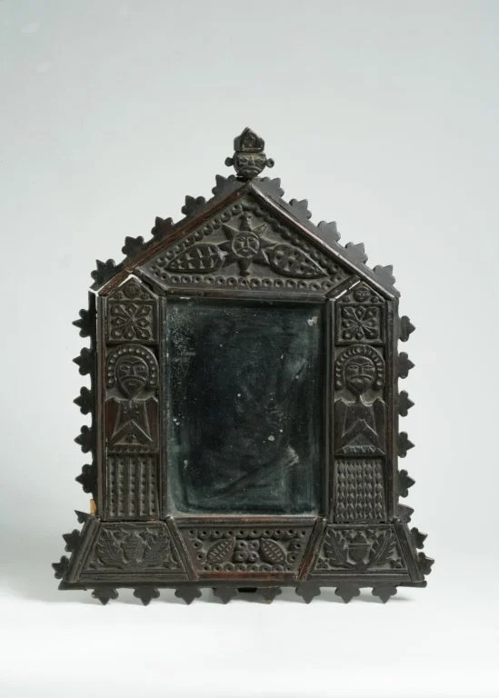 231: Black Painted Carved Wooden Mirror
