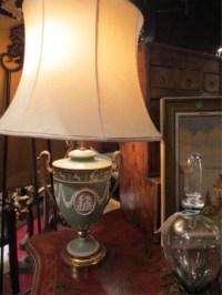 124: ANTIQUE WEDGWOOD TRI COLOR JASPERWARE LAMP, BLUE W