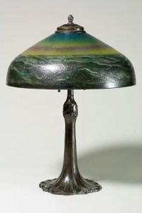 """1289: Pittsburgh lamp,16"""" shade,ocean waves : Lot 1289"""