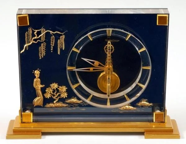 Jaeger Lecoultre Gilt Metal Acrylic Table Clock Antique
