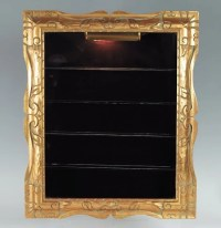 346: GOLD FRAME WALL MOUNTED CURIO DISPLAY CABINET : Lot 346