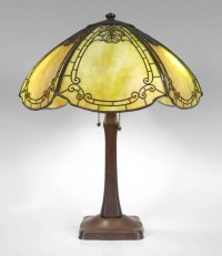HANDEL 6 BENT PANEL SLAG GLASS LAMP : Lot 1009